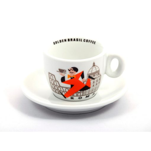 Golden Brasil Caffé Colosseo porcelán espresso csésze + csészalj