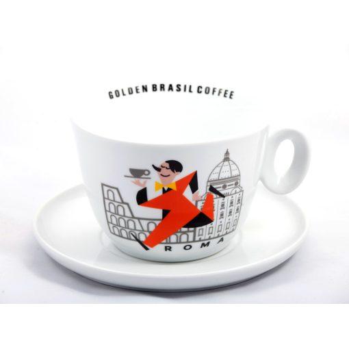 Golden Brasil Caffé Colosseo porcelán cappuccino csésze + csészalj