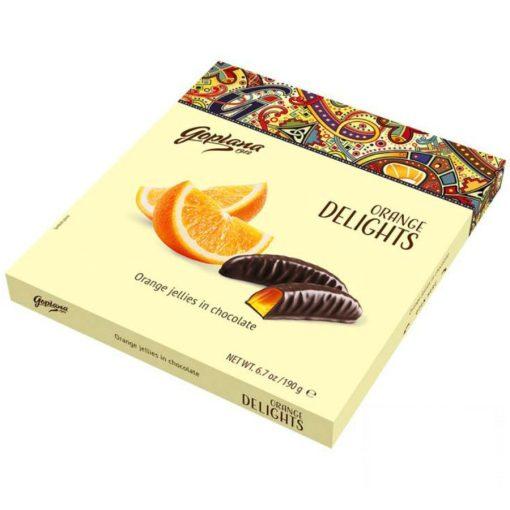 Goplana Delights Orange Jelly étcsokival bevont narancs zselé 190 g