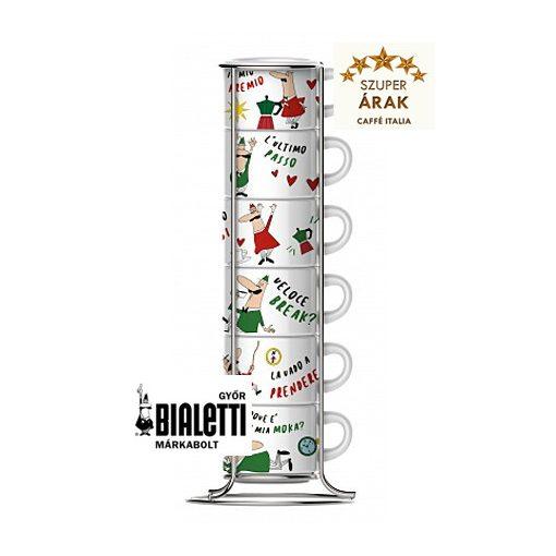 Bialetti espresso csésze szett állvánnyal 6 db