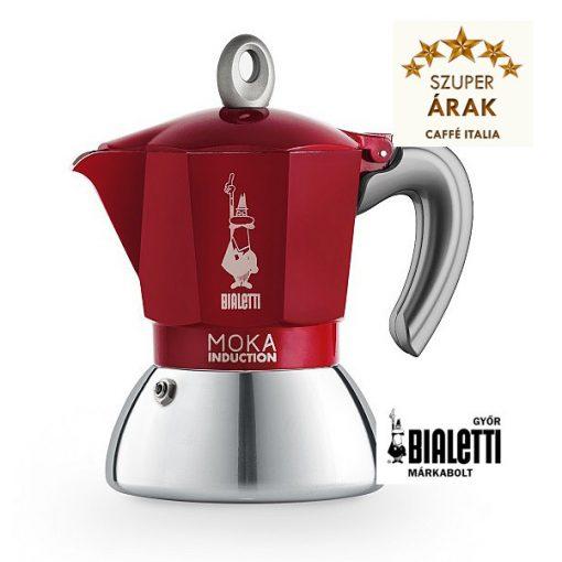 Bialetti Moka Induction 2 személyes inox kávéfőző piros