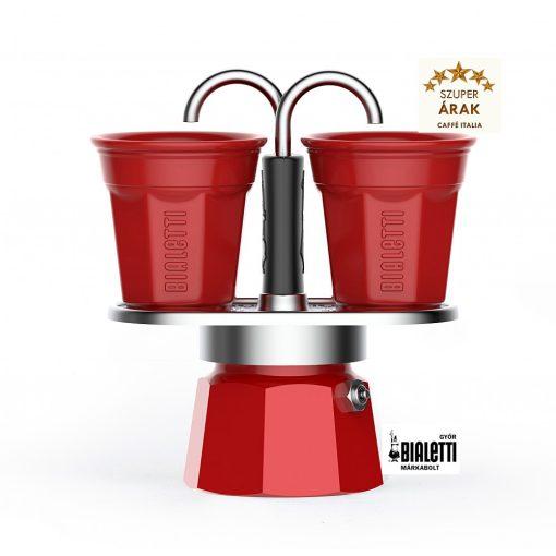 Bialetti Mini Express kotyogós kávéfőző szett piros színben