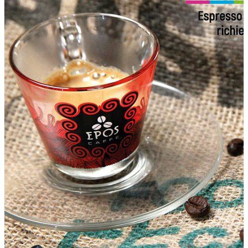 Epos üveg espresso csésze és csészealj
